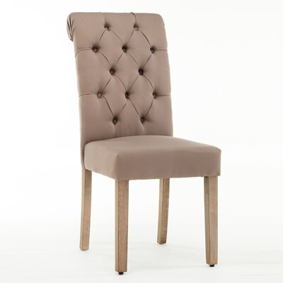 Christies Roll Top Tufted Modern Upholstered Dining Chair Upholstery: Brown