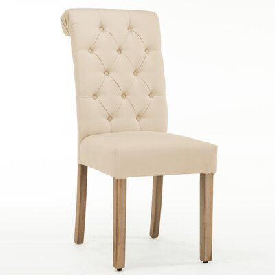Christies Roll Top Tufted Modern Upholstered Dining Chair Upholstery: Ivory