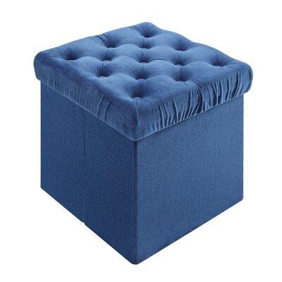 Roberto Foldable Storage Cube Ottoman Upholstery: Blue