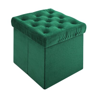 Roberto Foldable Storage Cube Ottoman Upholstery: Green