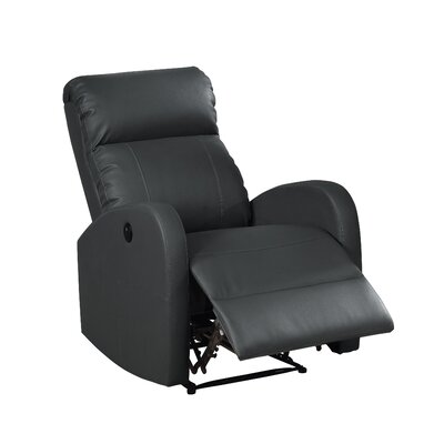 Sean Leather Recliner Upholstery: Black