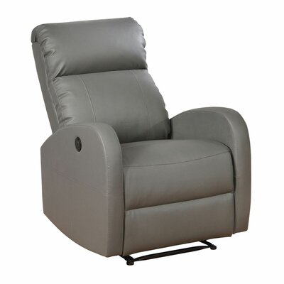 Sean Leather Recliner Upholstery: Grey