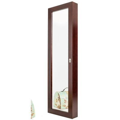 Over the Door or Wall Mount Jewelry Armoire with Mirror Color: Cherry Wood Finish