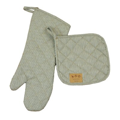 Railroad Stripe 2 Piece Potholder and Oven Mitt Set