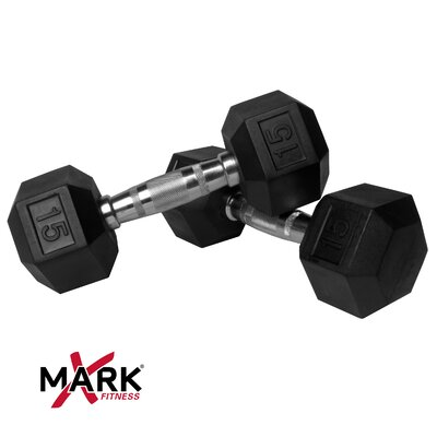 Easy financing Pair of 15 lb Rubber Hex Dumbbells...