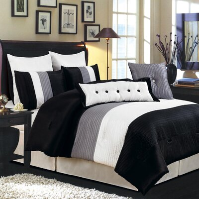 LaCozee Classic 8 Piece Reversible Comforter Set Size: Oversized King, Color: Black
