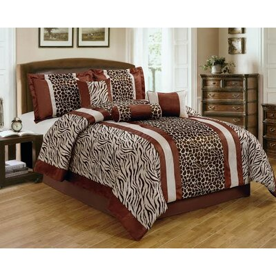Safari 7 Piece Comforter Set Size: King, Color: Coffee