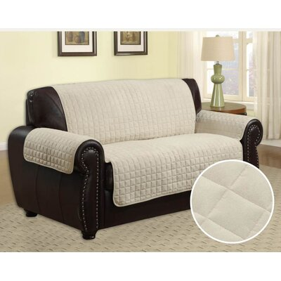 Box Cushion Loveseat Slipcover Upholstery: Beige