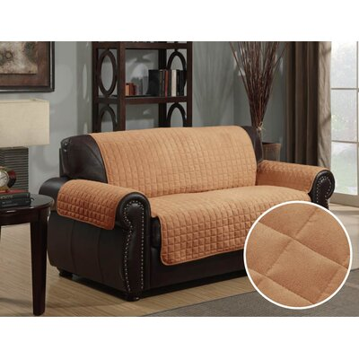 Box Cushion Loveseat Slipcover Upholstery: Camel