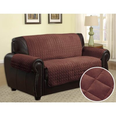 Quilted Box Cushion Sofa Slipcover Upholstery: Chocolate