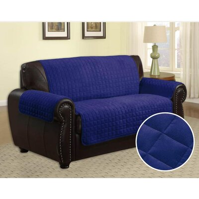 Quilted Microfiber Loveseat Slipcover Upholstery: Navy