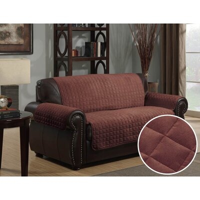 Super Box Cushion Loveseat Slipcover Upholstery: Chocolate