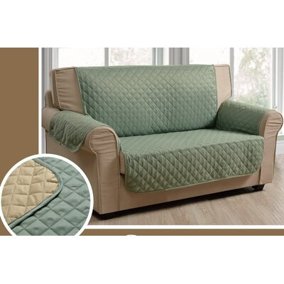 Reversible Sofa Slipcover Upholstery: Burgundy/Gray