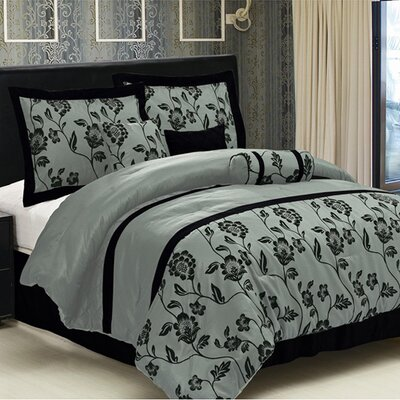 Flocking 7 Piece Comforter Set Size: King