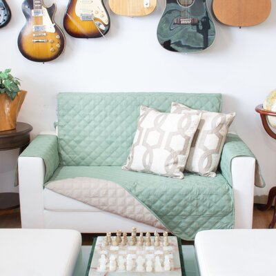 Sofa Slipcover Upholstery: Sage and Tan