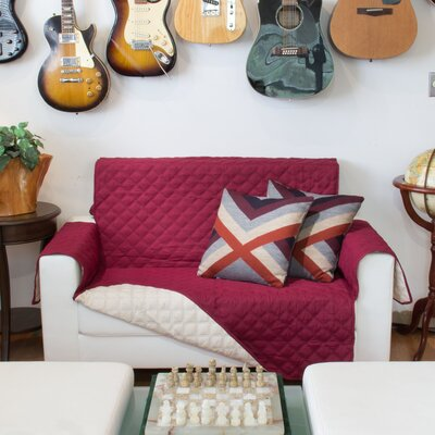 Box Cushion Loveseat Slipcover Upholstery: Burgundy and Taupe
