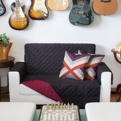 Box Cushion Loveseat Slipcover Upholstery: Black and Burgundy