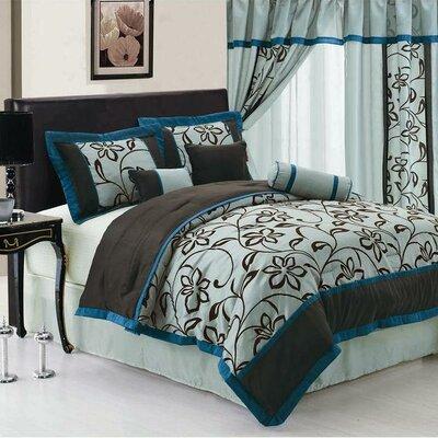 Floral 7 Piece Comforter Set Size: King