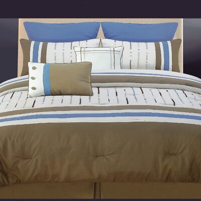 Classic 8 Piece Comforter Set Size: Queen, Color: Chocolate