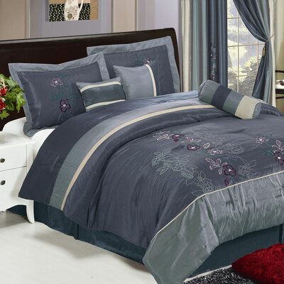 Shades of Floral Embroidered 7 Piece Comforter Set Size: King