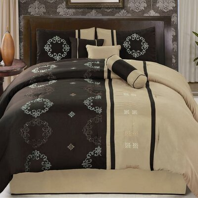 Karissa 7 Piece Comforter Set Size: Queen, Color: Brown