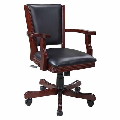 Kingston Poker Genuine Leather Upholstered Dining Chair Finish: Walnut