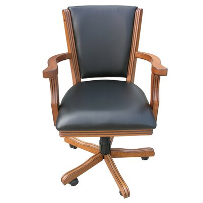Kingston Poker Genuine Leather Upholstered Dining Chair Finish: Antique Oak