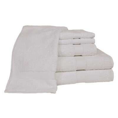 Ring Spun Cotton Line 100% Pima Cotton 6 Piece Towel Set Color: White