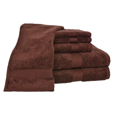 Ring Spun Cotton Line 100% Pima Cotton 6 Piece Towel Set Color: Coffee Bean