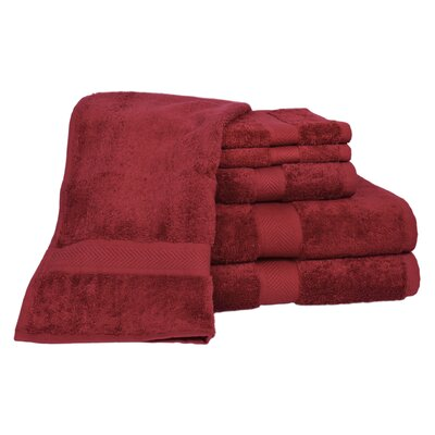 All American Cotton Line 100% Supima Cotton 6 Piece Towel Set Color: Pomegranate