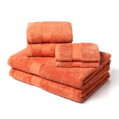 Ring Spun Cotton Line 100% Pima Cotton 6 Piece Towel Set Color: Papaya