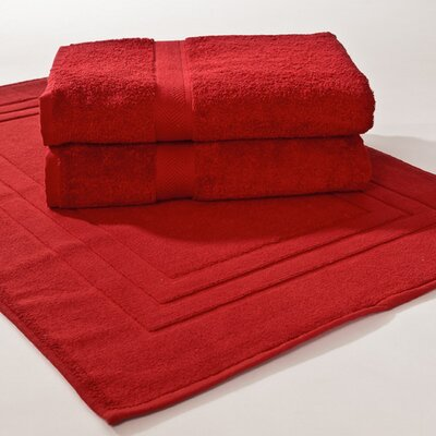 Ring Spun Cotton Line 3 Piece Towel Set Color: Pomegranate