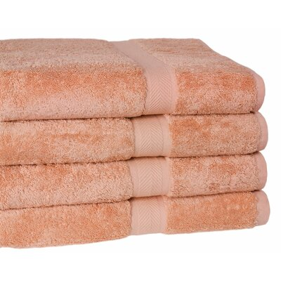 Ring Spun Cotton Line Bath Towel 4 Piece Towel Set Color: Champagne
