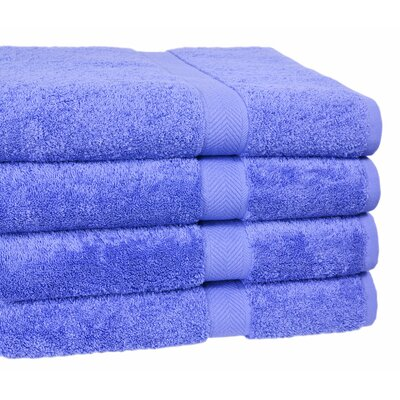 Ring Spun Cotton Line Bath Towel 4 Piece Towel Set Color: Morning Glory