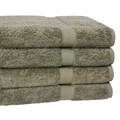 Ring Spun Cotton Line Bath Towel Towel Set Color: Sage