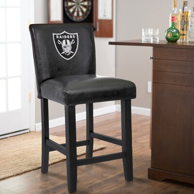24 Upholstered Bar Stool NFL Team: Oakland Raiders