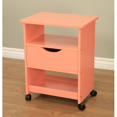 All Purpose Rolling End Table Color: Orange