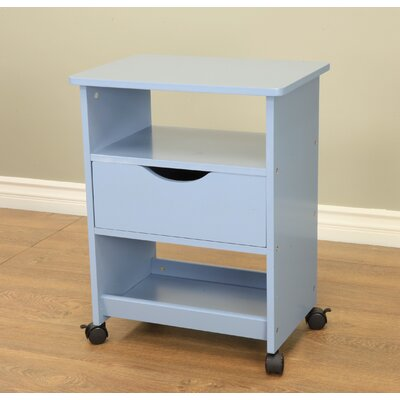 All Purpose Rolling End Table Color: Blue