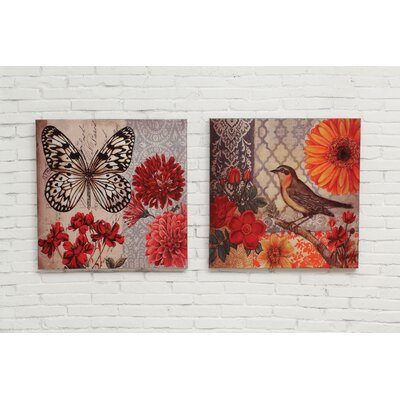 Haven Butterfly And Bird 2 Piece Painting Print On Canvas Set