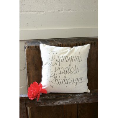 Flirt Diamonds, Lipgloss, Champagne Cotton Throw Pillow