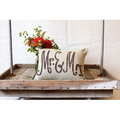 Sayings Mr. & Mrs. Linen Lumbar Pillow