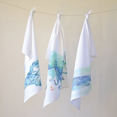 Waterside 3 Piece Cotton Sea Creature Hand Towel Set