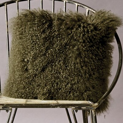 Pure Mongolian Throw Pillow Color: Olive