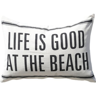 Waterside Life Is Good At The Beach Cotton and Linen Lumbar Pillow