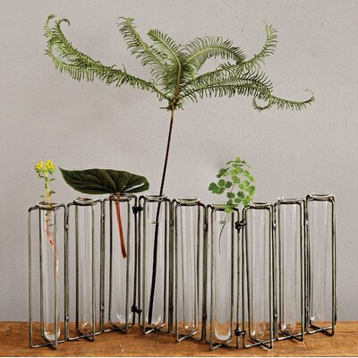 Doucet Metal and 9 Glass Test Tubes Jointed Vase 78EC9280262C43D9BE14D8463952876E