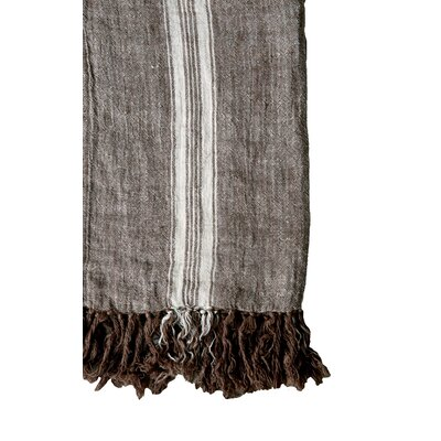 Waterside Stripes and Fringe Linen Throw Color: Brown