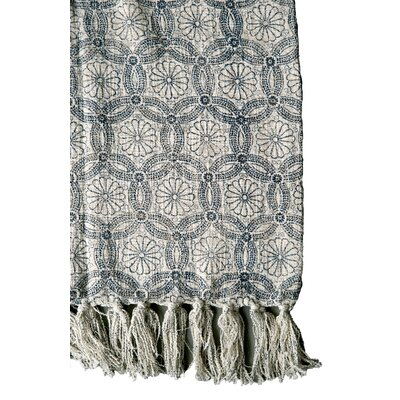 Waterside Blue Floral Pattern and Fringe Cotton Throw