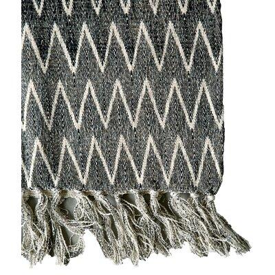 Smudge Natural/Black  Chevron Print Cotton Throw