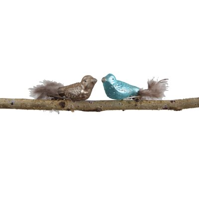 Garden Christmas Glass and Feather Bird Ornaments with Clip XC8260