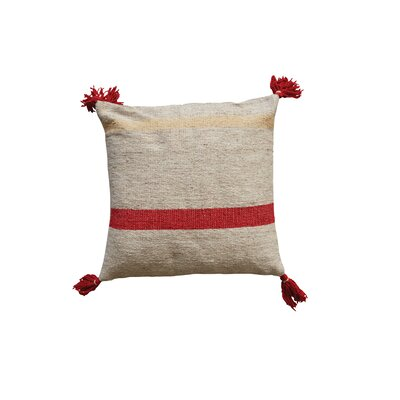 Eddins Square Stripped Wool Kilim Throw Pillow